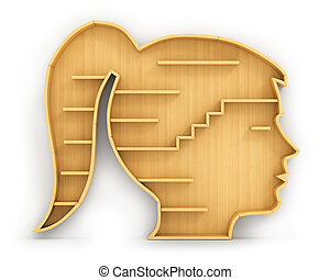 Concept of training. Empty bookshelf in form of woman head. Science about human. Psychology. A human have no knowledge.