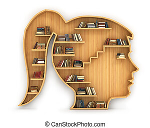 Concept of training. Wooden bookshelf in form of woman head....