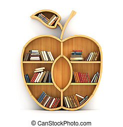 Concept of training. Wooden bookshelf in form of apple. Science concept. A human have more knowledge.