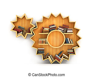Concept of training. Wooden bookshelf in form of gears. Mechanic. A human have more knowledge.