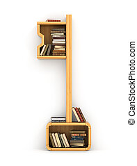 Concept of training. Wooden bookshelf in form of key. The...