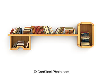 Concept of training. Wooden bookshelf in form of key. The key to knowledge. Psychology. A human have more knowledge.