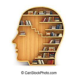 Concept of training. Wooden bookshelf in form of man head....