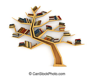 Concept of training. Wooden bookshelf in form of tree....
