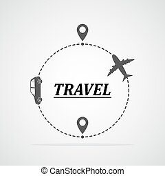 Concept of traveling by car and plane. Vector illustration....