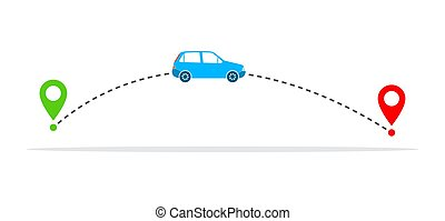 Concept of traveling by car. Vector illustration - Auto and...