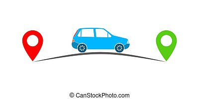 Concept of traveling by car. Vector illustration - Car and...