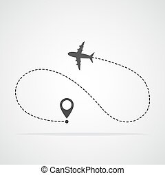 Concept of traveling by plane. Vector illustration - Plane...