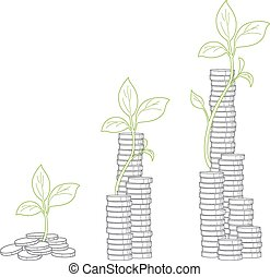 Concept of tree growing from money