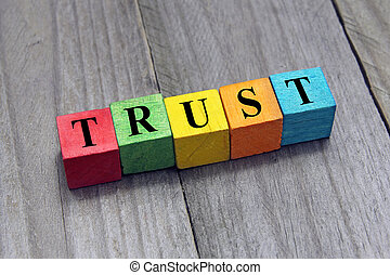 concept of trust word on wooden cubes
