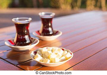 Concept of turkish tea accessories - Locum and turkish tea ...