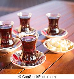 Concept of turkish tea accessories - Turkish tea with teapot...