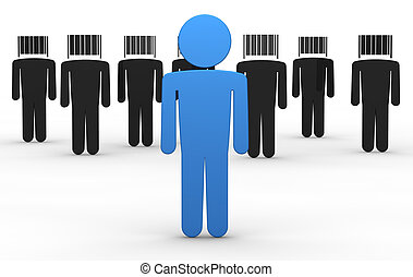 concept of uniqueness - some cartoon men with a bar code...