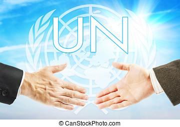 Concept of United Nations organization. Global international union