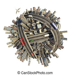 conceptual miniature urban planet showing a congested city modern lifestyle and transport, isolated with clipping path