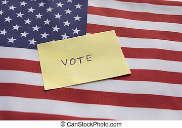 Concept of US election, Vote sticker on US flag