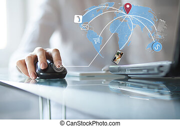 Concept of using wireless technology, online buying, receive...
