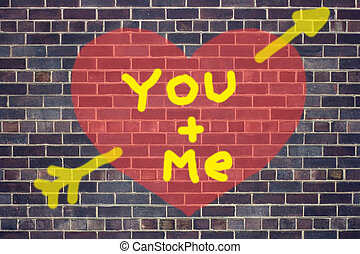 Concept of Valentine's Day heart graffiti on brick wall background