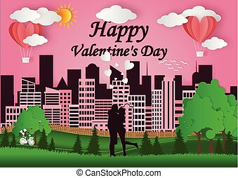 concept of Valentine's Day, men and women stand together to express love. A natural habitat with rabbits and deer stands. And the green grass behind is the big city. Vector illustration of pink paper art.