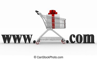 Concept of visiting e-business website. 3d illustration on a...