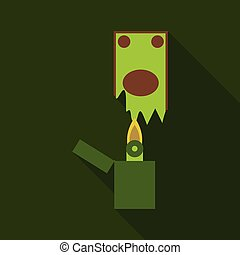 Concept of waste money, spend money. Burnt Lighter and pack of money vector flat illustration