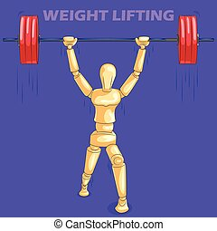 Concept of Weight Lifting sports with wooden human mannequin