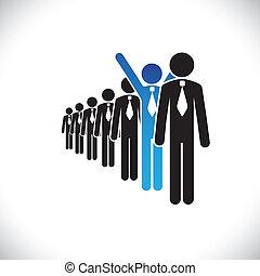 Concept of winner employee, champion worker- vector graphic....