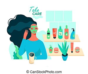 Concept of woman in cosmetic mask. Skin, face and hair care products