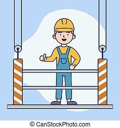 Concept Of Work On Height. Builder In Uniform Standing On Construction Platform, Showing Thumb Up. Man in Helmet and Uniform Work On Height. Abstract Background. Cartoon Flat Style. Vector Illustration