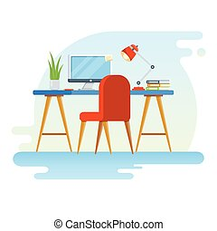 Concept of workplace with computer and office equipment. Flat vector illustration of Creative Workspace