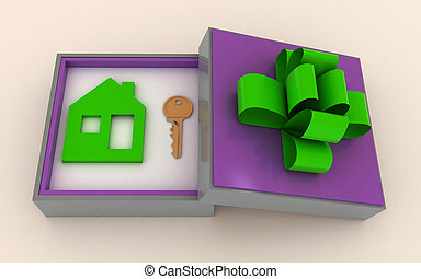 Concept of your dream house - Key and symbol of house in...