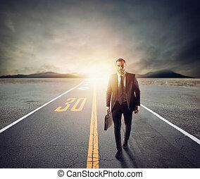 concept, onbekend, adventure., zakenman, besluit, wandelingen, nieuw, straat
