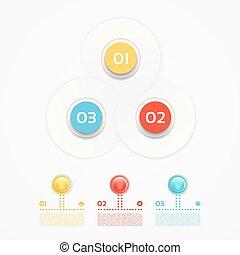concept, onderdelen, getal, infographic, ontwerp, template., design., web, visualization., processes., 3, zijn, gebruikt, zakelijk, workflow, opties, opmaak, data, diagram, vector, stappen, groenteblik, of