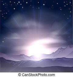 concept, ondergaande zon , of, zonopkomst