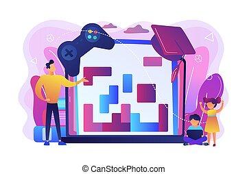 concept, onderwijs, vector, spel, illustratie