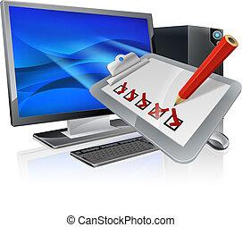 concept, onderzoeken; inspecteren;, online