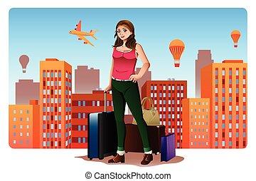 concept, ongeveer, jonge vrouw , het reizen, wereld