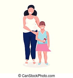 concept, ongezonde , gezin, op, volle, samen, vrouwlijk, meisje, grootte, staand, weinig; niet zo(veel), witte , zwaarlijvige, vrouw, overgewicht, dik, karakters, dochter, spotprent, levensstijl, achtergrond, lengte, moeder
