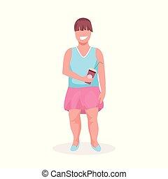 concept, ongezonde , op, vrouwlijk, meisje, grootte, staand, weinig; niet zo(veel), kop, karakter, plastic, vasthouden, witte , plat, volle, pose, overgewicht, dik, achtergrond, kind, spotprent, levensstijl, lengte