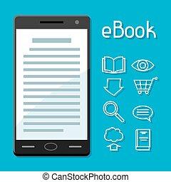 concept., online bibliotheek, telefoon, book., digitale , lezende , smart, e-boeken