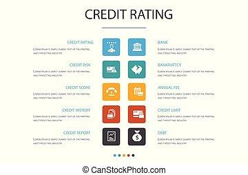 concept., opción, infographic, 10, clasificación, quiebra, riesgo, credito, raya