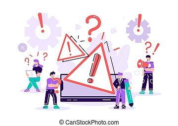 Concept operating system error warning. 404 error web page vector illustration, Error warning window operating system. Vector for web page, banner, presentation, social media, documents, posters.