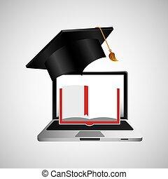 concept, opleiding, boek, leren, online