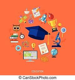 concept, opleiding, online