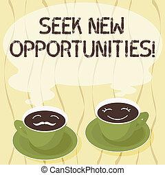 concept, opportunities., een ander, leeg, zoeken, schotel, kop, het kijken, tekst, nieuw, steam., koffie, zijn, zakelijk, betekenis, hers, pictogram, werk, gezicht, verschiet, stellen, handschrift, of