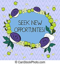 concept, opportunities., krans, een ander, zoeken, knippen, minuscuul, schrijvende , het kijken, tekst, nieuw, beet., zakelijk, granaatappel, werk, floral, gemaakt, woord, zaden, glanzend, verschiet, kleine, of