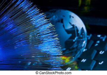 concept, optique, globe, fibre, contre, informatique, fond, la terre, données
