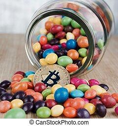 concept, or, -, bitcoin, sucre, monnaie