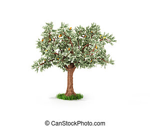 concept, or, business, arbre argent, économies, fruits, ou