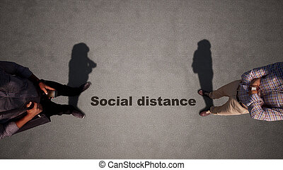 Concept or conceptual 3d illustration of a man to man meeting following social distance